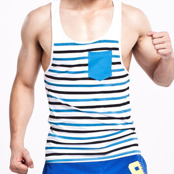 Summer Style Fashion Men Tanks Tops Brand SEOBEAN Stripe O-neck Tanks For Men Slim Sleeveless Men Vests