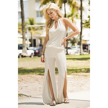 Ivory Elastic Dropped Waistline Jumpsuit (Grey also Available)