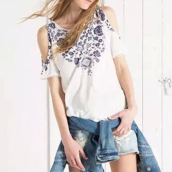 White And Blue Porcelain Print Cutout-Shoulder Shirt