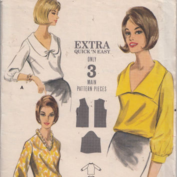 1960s Bust 34 Extra Quick and Easy Blouse Pattern Butterick 3587 V Neckline Spread Collar 3/4 Banded Sleeves Vintage Sewing Pattern