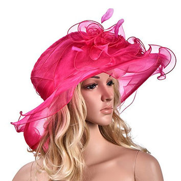 Womens Flower Kentucky Derby Wide Brim Church Dress Sun Hat A341 (Hot Pink)