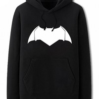 MapleClan Batman Print Thick Winter Hoodie Sweatshirt Black - L