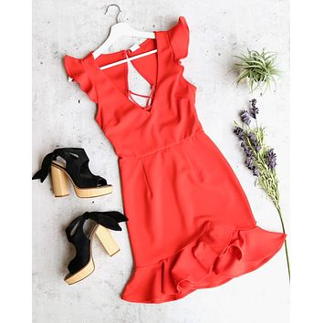 girl next door ruffle sleeve tie back mini dress in red