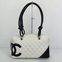 Used Chanel Ligne Cambon A25171 Women's Cambon Ligne Shoulder Bag Black,Whi 1442