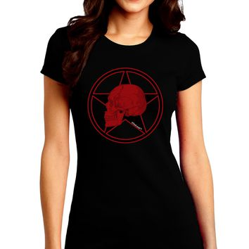 Blood Red Skull Juniors Crew Dark T-Shirt by TooLoud
