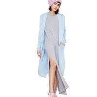 Plus Size Blue Open Front  Long Loose Knit Cardigan