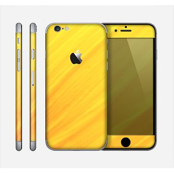 The Orange Abstract Wave Texture Skin for the Apple iPhone 6