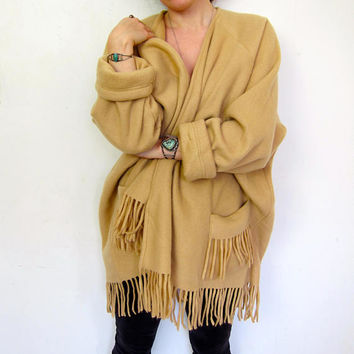 Oversized Sweater Coat Beige Fleece Jacket Soft Fringed Cardigan Kimono Jacket Blanket Coat Minimal Oversize Open Sweater Coat Womens Large