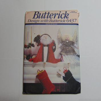 Butterick Design With Butterick Pattern 6437 Santa and Angel Stocking Holders 1992