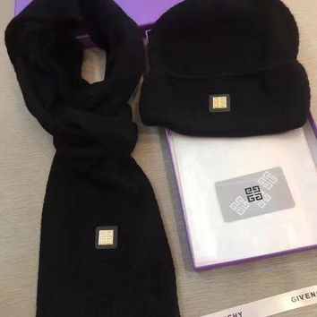 ICIKW Givenchy Beanies Winter Knit Hat Cap Cape Scarf Scarves Set Two-Piece-1