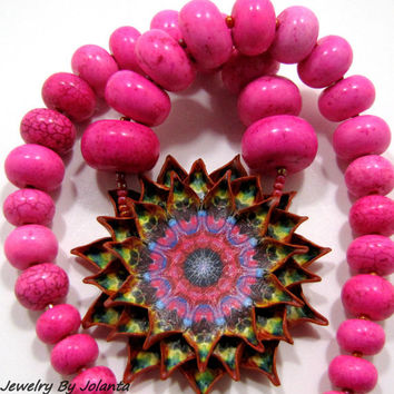 Pendant Necklace, Natural Stone Hot Pink Jewelry, Bib Statement Necklace, Beaded Jewelry.