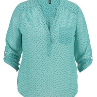 Plus Size - The Perfect Blouse In Patterned Print - Sea Green Combo