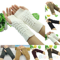 Women¡¯s Winter Unisex Arm Warmer Elbow Long Fingerless Mitten Knited Soft Gloves = 1946633092