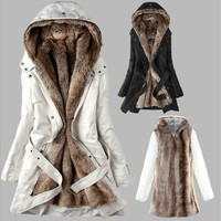 Fashion women's Winter Faux fur lining fur coats Warm long Cotton-padded jacket clothes Ladies Coat  fur outerwear with Belt [9305693447]