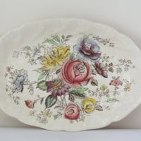 oval dish shabby chic soap jewelry tray vintage floral wall hanging