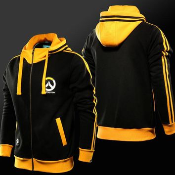 Blizzard Game OW Logo Hoodies Zip up Black Sweatshirts Mens Casual clothes Cosplay Costume