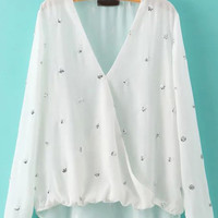 White Floral Sequin Asymmetrical V-Neck Long Sleeve Blouse