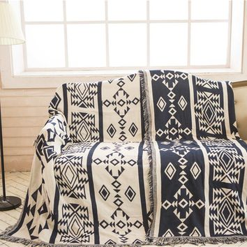 Bohemian Sofa Throw Blanket Boho Knit Chair Sofa Cover Towel Geometric Carpet Soft Cotton Travel Plaids Cover Bedding Tapestry