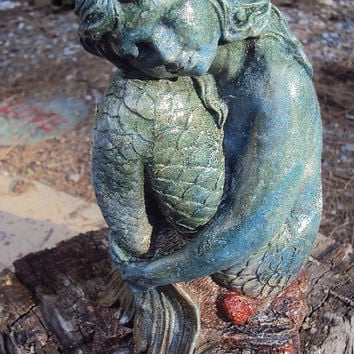 Cast Cement Stone Mermaid by MountainArtCasting on Etsy