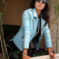 New Women Fashion Long-sleeved Blue Leather Zipper Jacket Coat Outwear