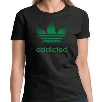 Adidas Parody Addicted Shirt Marijuana Weed Funny Graphic T-Shirt