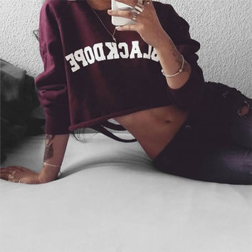 Fashion Casual Female Retro Letter Print Back Irregular Ripped Round Neck Long Sleeve Sweater T-shirt Crop Top
