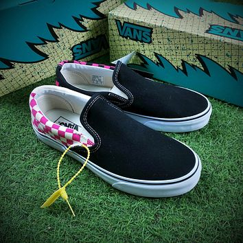 Billy 3th Customise Vans Slip on Sneakers Casual Shoes Black Pink