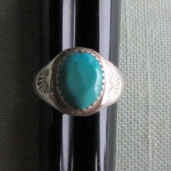 Sterling Silver Genuine Turquoise Native American Made Ring Sz 8 - 4.66g