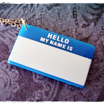 Blue Name Tag Necklace - Blue Acrylic Name Tag Charm on a Delicate 18 Inch Silver Plated Cable Chain