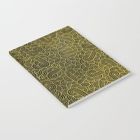 Black and faux gold swirls doodles Notebook by Savousepate