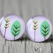 Fake Plugs : Pink and Green Tree Stud Earrings, Fake Plugs, Cabochon, Forest, Round, ArtisanTree, Sketch