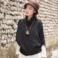 KaCa Women Cool Autumn Winter Button open Cardigan Sweaters Top Outwear Black SAT2-231M