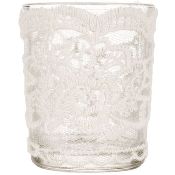 Glass Candle Holder with White Lace | Hobby Lobby