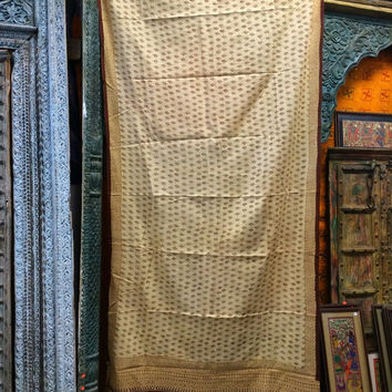2 India Curtains Ivory Brown Cotton Sari Curtains Floral Drapes Window Dressing
