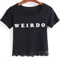 WEIRDO Graphic Print Lace Hem Crop Top