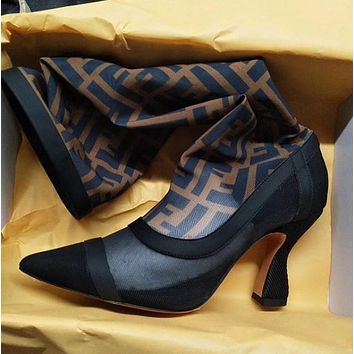 shosouvenir Fendi Black stitching coffee, FF letter, mesh, high heel and high tube boots.