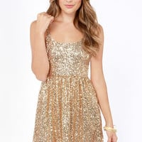 Give Me a Glint Gold Sequin Dress