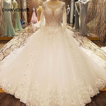 LS89965 elegant bridal dresses beading ball gown O neck corset wedding gowns with sleeves robe de mariage real photos