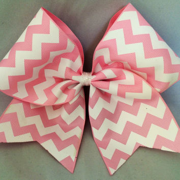 Practice Cheer Bow - Light Pink and White Chevron