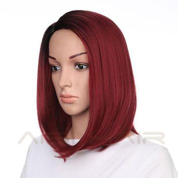 ICIKION Synthetic Short Burgundy Bob Ombre Red Wigs