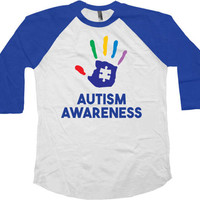 Autism Awareness Shirt Autistic Gifts Autism Advocate Autism Speaks Puzzle Piece Autism Spectrum Month 3/4 Sleeve Baseball Raglan Tee -SA771