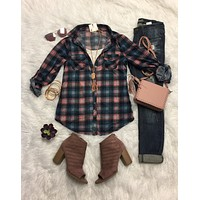 Penny Plaid Flannel Top: Navy/Pink