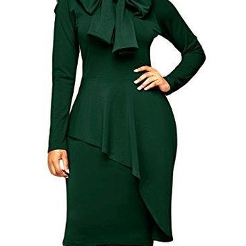 Dokotoo Womens Tie Neck Peplum High Waist Long Sleeve Bodycon Dress