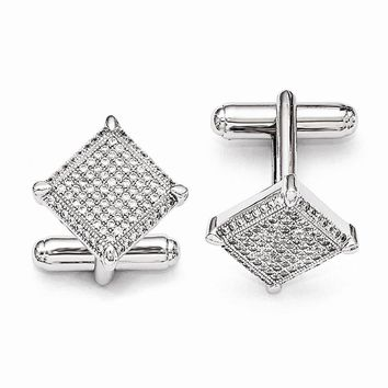 Sterling Silver & Zirconia Cuff Links