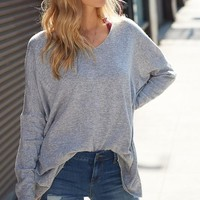 Luxe V-Neck Sweater - Heather Gray