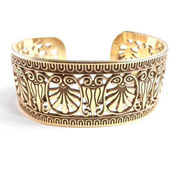 Vintage Filigree Cuff Bracelet -  Gold Tone Chunky Signed MMA Costume Jewelry / Lotus Flowers