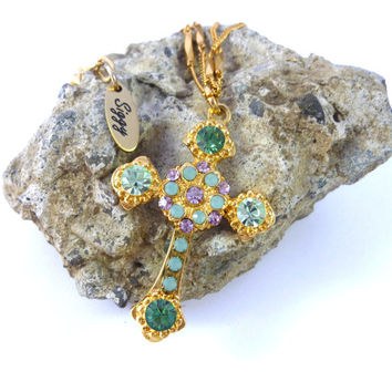 Swarovski crystal ornate Victorian style Cross Pendant in peridot, mint opals and violet,  Faith, Gorgeous design