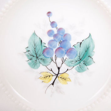 Vintage Westmoreland Beaded Edge Milk Glass Plate With Hand Painted Grape Cluster Dessert Salad Plate
