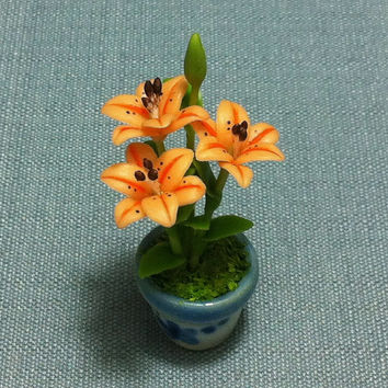 Flower Plant Lily Orange Miniature Clay Polymer Fimo Garden Flowers Hand Made Supplies Cute Tiny Mini Small Ceramic Pot Dollhouse Decor Deco