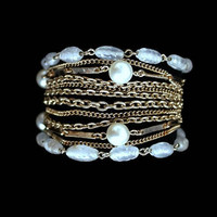 Kramer Bracelet, Layered Multi Strand With Clear Beads And Faux Pearls